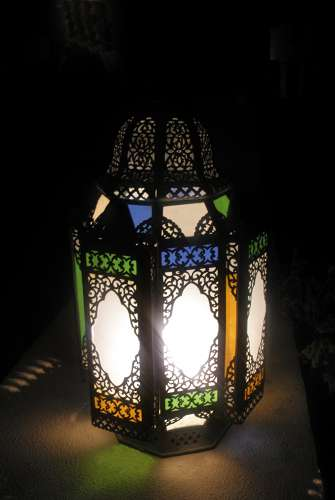 handgefertigte Orientalische Lampen aus Schmiedeeisen und Glas