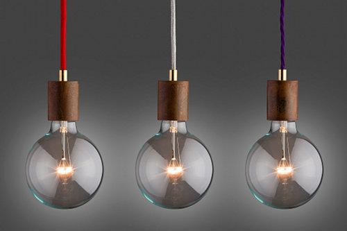 vintage Hängeleuchte von der lampenmanufaktur otto Zern mit Fassungsblende und textilkabel