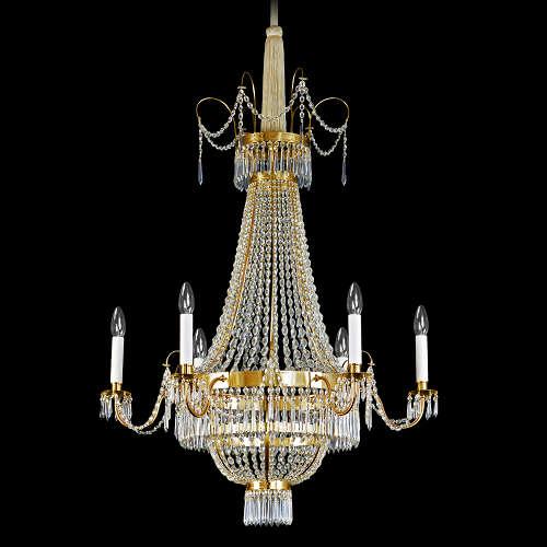 Handgefertigte Lüster und Kronleuchter von der Lampenmanufaktur Otto Zern, gefertigt aus Messing mit Glasbehängen.