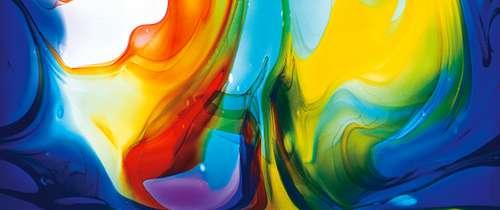 Aus Glas handgefertigte Lichttafeln Farbenwirbel